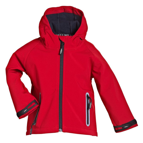 BMS Kinder Softshell Kids Jacke Stealth mit Kapuze Rot