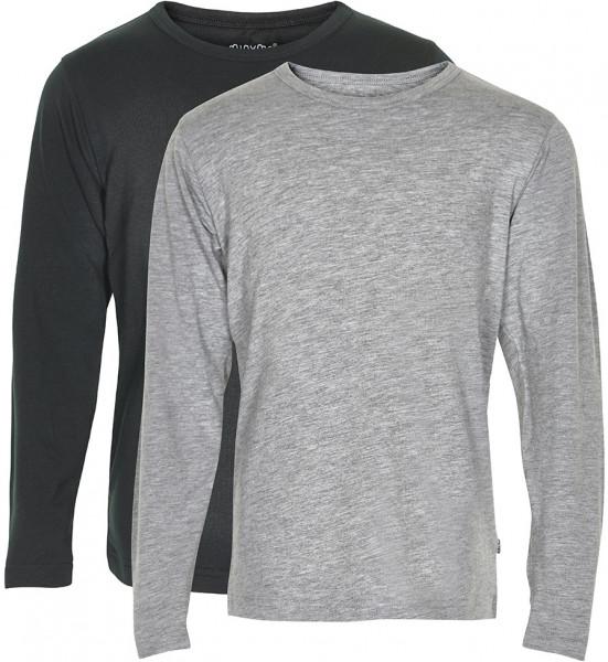 Minymo Jungen Longsleeve Basic 34 Langarm Shirt (2-Pack) Anthacite Black