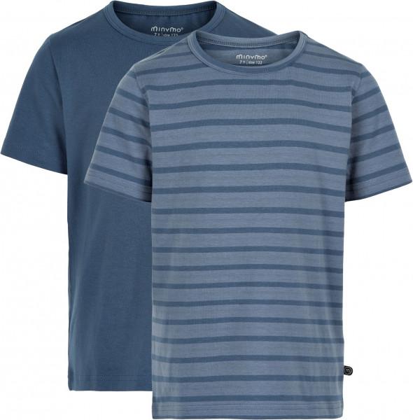Minymo Jungen T-Shirts Basic 32 -T-Shirt (2-Pack) Pack W. 2 Colours New Navy