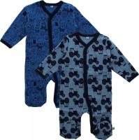 Pippi Babywear Kinder Schlafanzug Nightsuit mit Foot Buttons (2er Pack) Blue