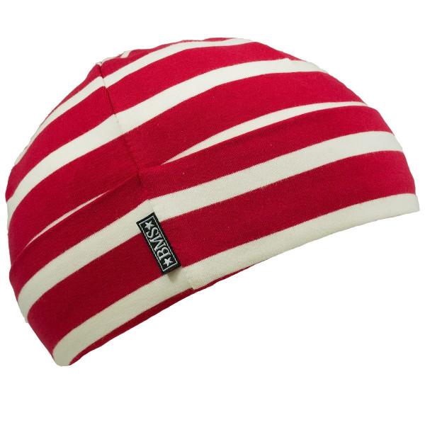 BMS Kinder Mütze Ringelmütze Rot/Weiß Blockstreifen