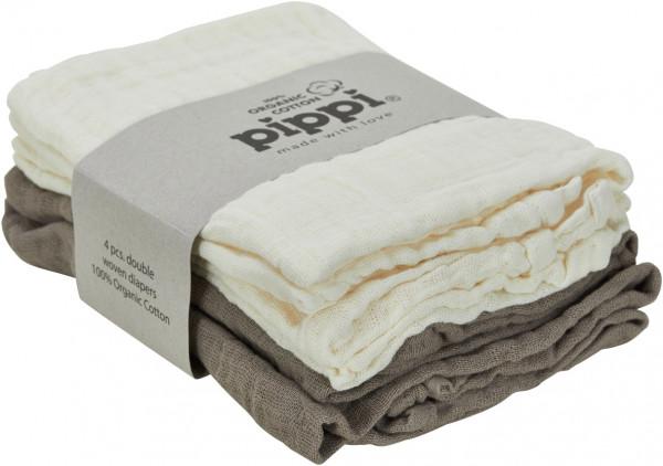 Pippi Baybwear Kinder Windeln Organic Cloth Muslin (4-Pack) 65x65 cm Cinder Beige